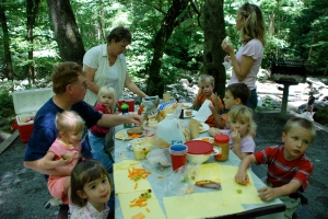 Family picnic at the Chimneys campground in the Smokey Mountain National Park with Grandmama and Grandaddy and our cousins